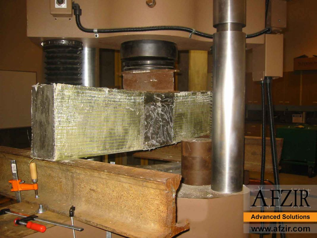 Test of strengthened concrete beam with GFRP
