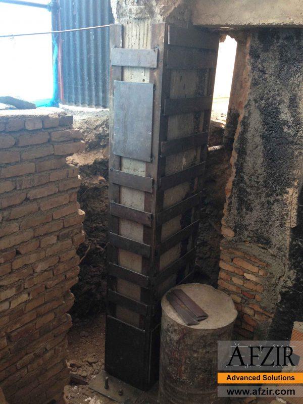 Steel jacketing of concrete column
