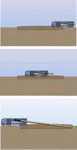 همزمان با حرکت کامیون حامل سیستم ساخت درجای InSitePipeTM بر روی خاکبرداری، قسمتهای ساختهشده داخل خاکبرداری قرار داده میشوند.